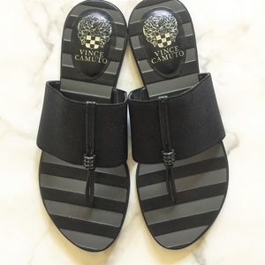 Vince Camuto Elastic Strap Leather Sole Slides
